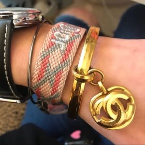 CHANEL Jewelry - Auth CHANEL Vint. 1996 Gold Plated Bangle Bracelet